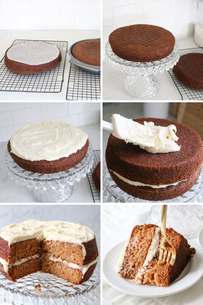 steps of frosting carrot cake