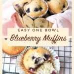 blueberry muffins with text overlay