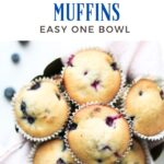 blueberry muffins in a bowl with text overlay