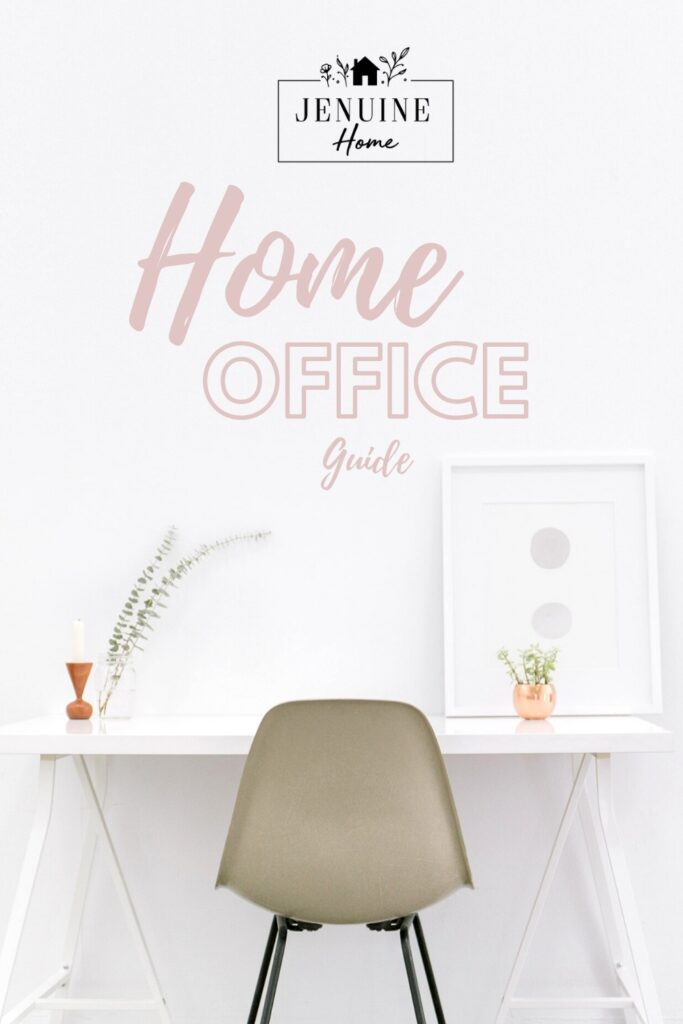 white home office with text overlay
