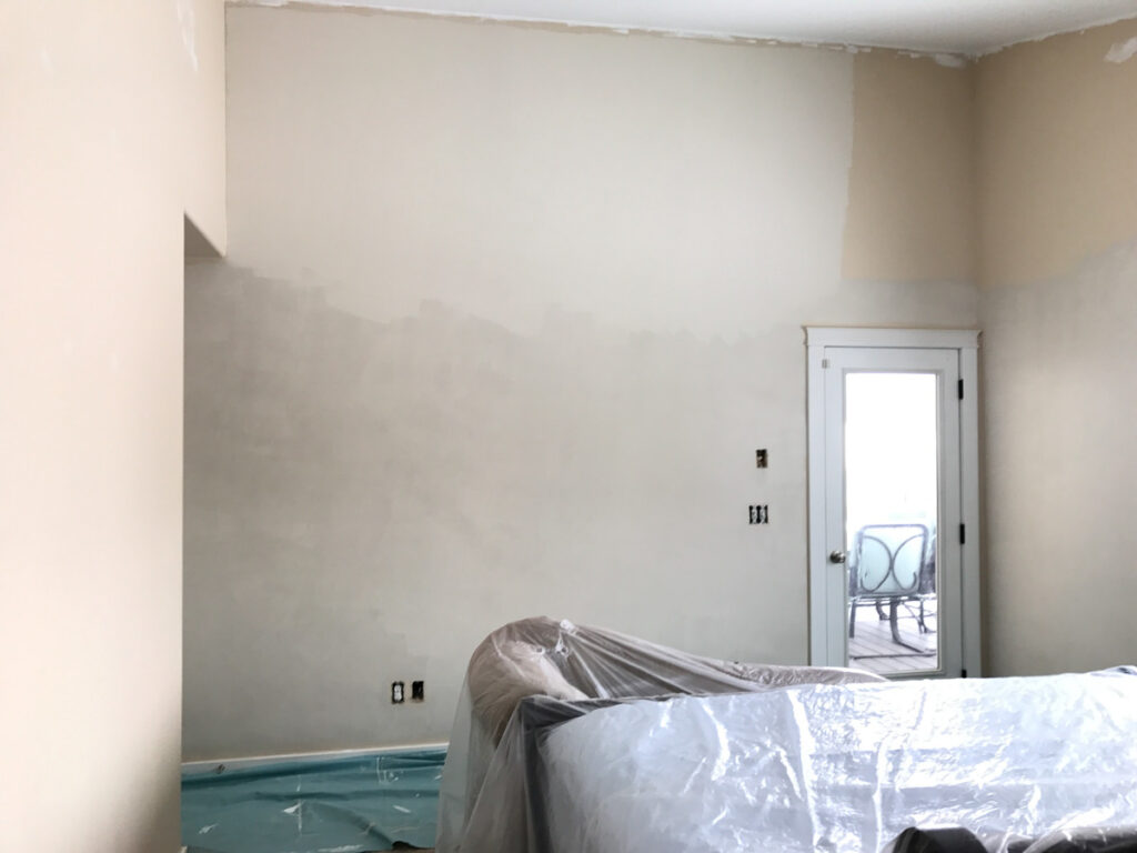 walls being painted from beige to classic gray