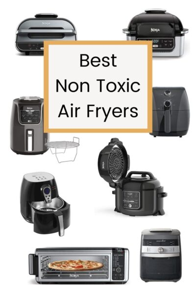 black air fryers from different brands with text overlay