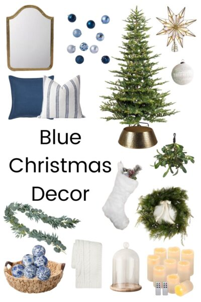 blue and white themed christmas items with text overlay