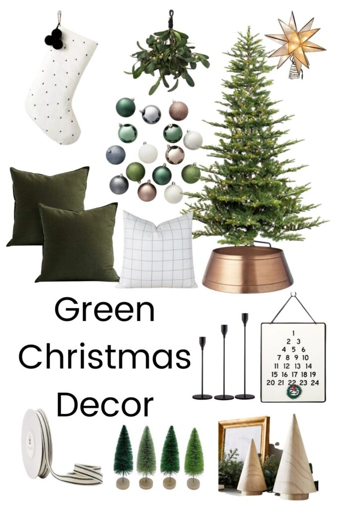 throw pillows and christmas home decor with text overlay