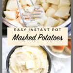 potatoes being mashed with a masher and bottom pic of creamy mashed potatoes with text overlay