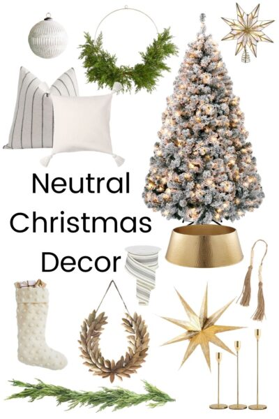 flocked christmas tree, throw pillows and other christmas decor with text overlay