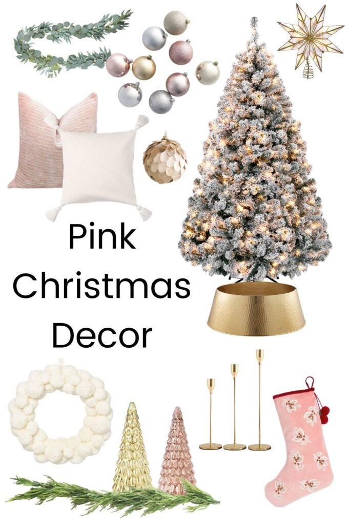 pink white and gold christmas decor with text overlay