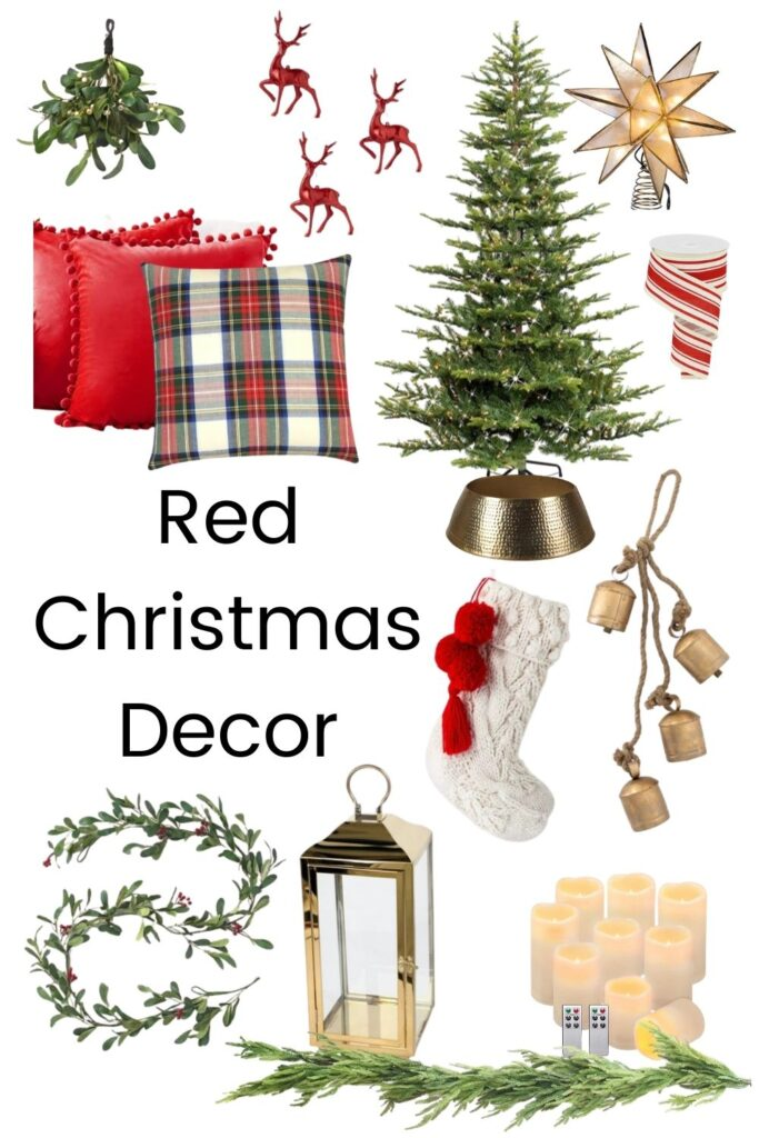 red christmas decor with pillows, christmas tree and candles