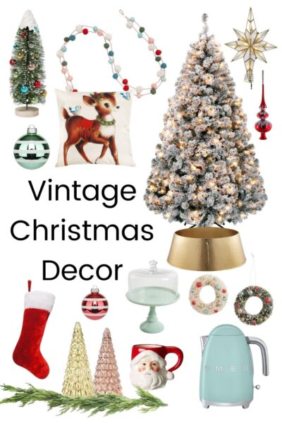 flocked christmas tree with vintage ornaments and christmas decor