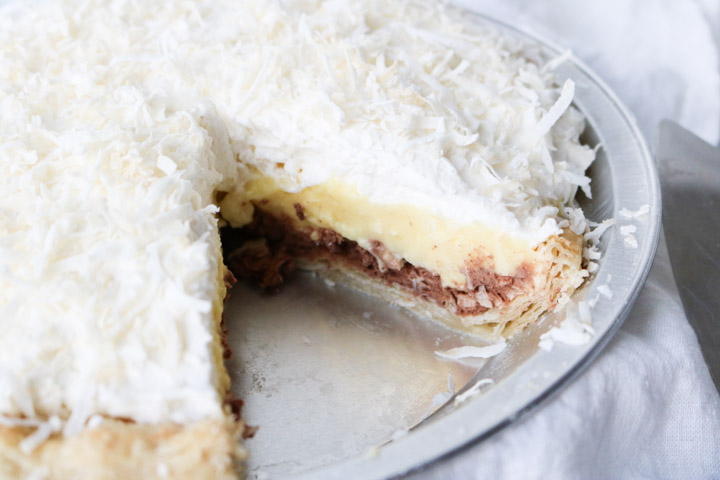 slice of chocolate coconut cream pie layers