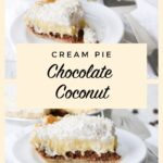 two up close shots of slices of coconut cream pie with text overlay