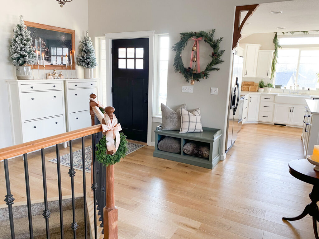 christmas decor in entryway with ikea hemnes shoe cabinets