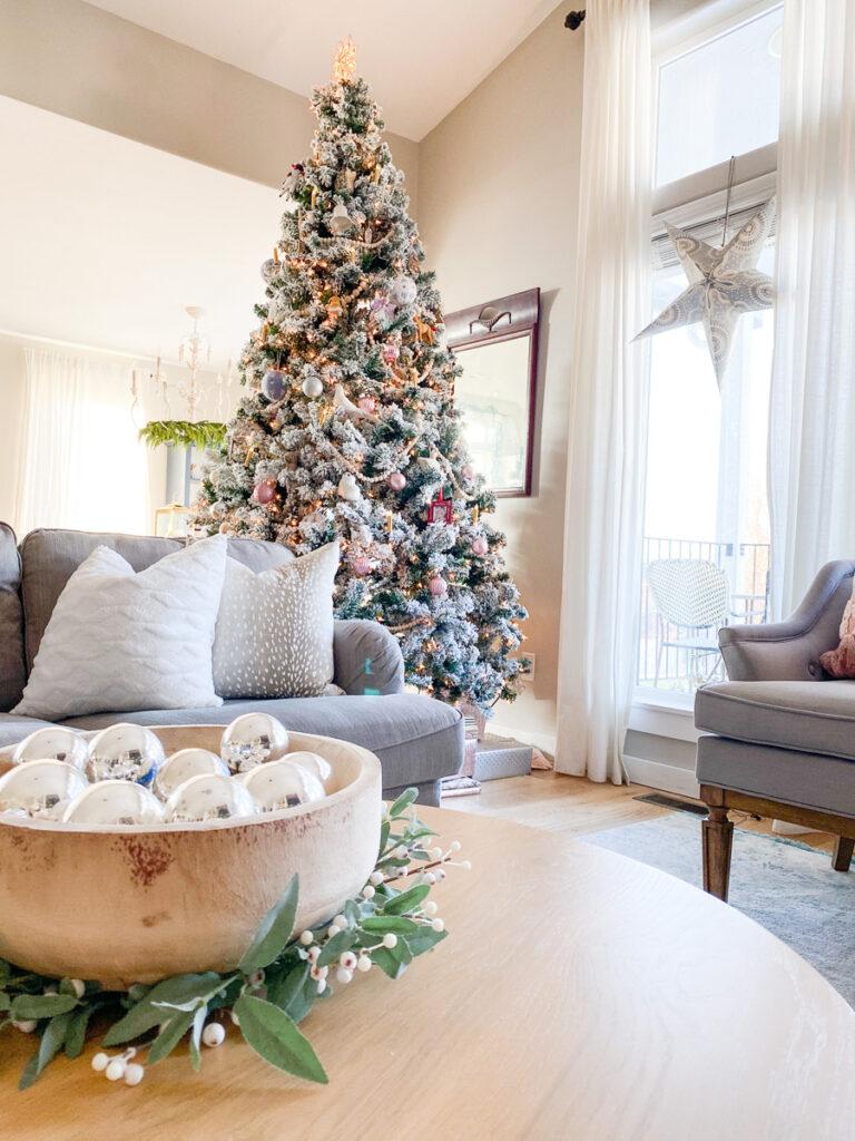Flocked christmas tree in living room