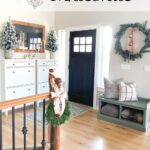 christmas decor in entryway with ikea hemnes shoe cabinets with text overlay