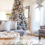 Flocked christmas tree in living room with text overlay