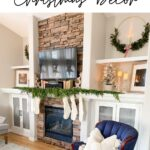 christmas decor in living room and chair with text overlay