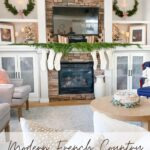 christmas decor in living room with couches and chair with text overlay