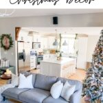christmas living room decor with kitchen in background with text overlay