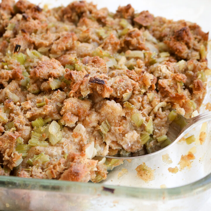 baking dish with homemade stuffing