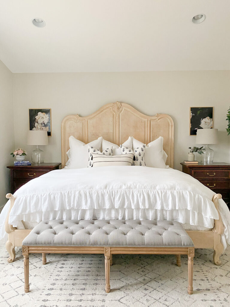 blonde king french country bed with ruffled duvet cover white bedding