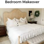 blonde king french country bed with ruffled duvet cover white bedding with text overlay